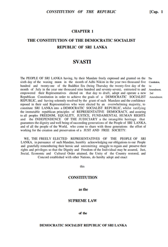 Constitution of Sri Lanka - Page one of the 1978 Constitution