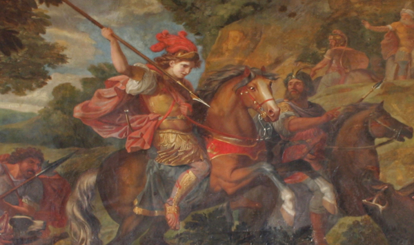 Detail of Cyrus Hunting Wild Boar by Claude Audran the Younger, Palace of Versailles Painting of Cyrus the Great in battle.png