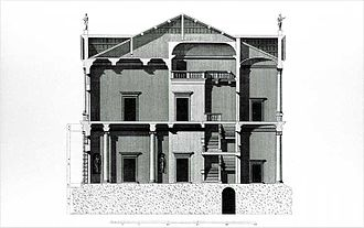 Palazzo Antonini, Udine - Palazzo Antonini, section. Drawing by Ottavio Bertotti Scamozzi, 1781