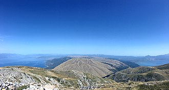 Galičica - Image: Panorama View of Ohrid and Prespa Lakes from top of Galicica (2)