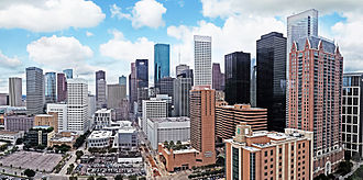Downtown Houston - Aerial view of the Downtown skyline from the east