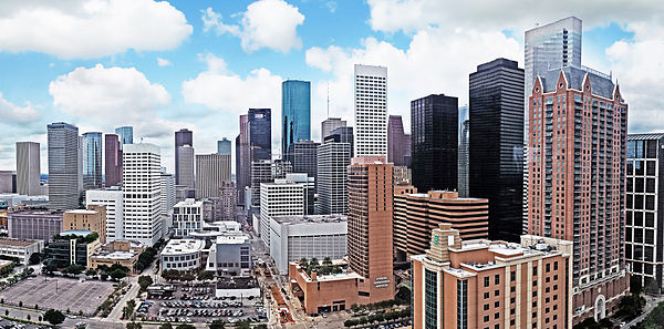 The eastern view of Downtown Houston