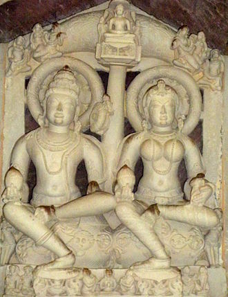 Marudevi - Image of king Nabhi and mother Marudevi in Khajuraho museum, Khajuraho, Madhya Pradesh