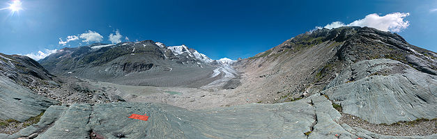 "Panoramic view over ""Pasterze"" a glacier in the Alps."