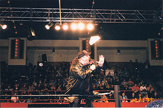 Paul Heyman - Heyman addressing the crowd at an ECW television taping in 1999