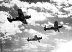 Pecos Army Airfield - Vultee BT-13 in a Three-Ship Formation.jpg