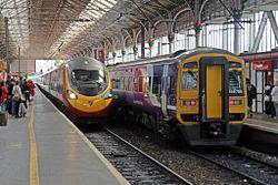 Pendolino and Class 158, Preston railway station (geograph 4499654).jpg