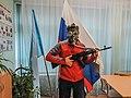Peretz Partensky with AK74M wearing a GP-4u gas mask.jpg