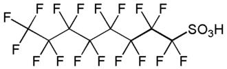 Fluorosurfactant - Skeletal structure of PFOS, an effective and bioaccumulative fluorosurfactant
