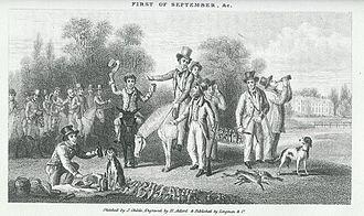 Peter Hawker - Peter Hawker (Mounted on Grey) talking to Joe Manton 1 September 1827.