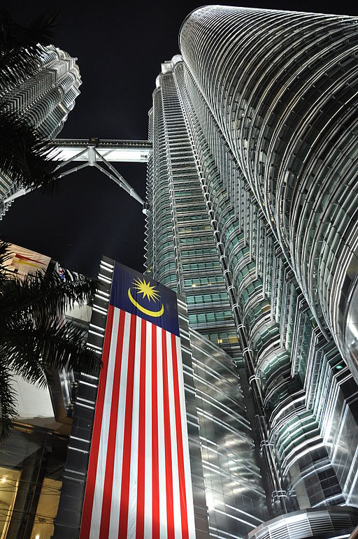 Petronas Towers at Night - from the base upwards