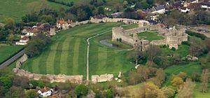 Pevensey Castle - Image: Pevensey Castle aerial alt