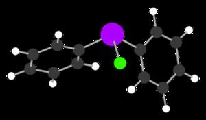 Diphenylchlorarsine - Image: Ph 2As Cl from xtal 1962 hydrogens HF 3 21G 3D CM cartoon balls stroke 5px