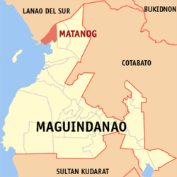 Map of ماگوئنداناؤ showing the location of Matanog