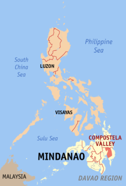 Map of the Philippines with Compostela Valley highlighted