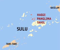 Map o Sulu showin the location o Hadji Panglima Tahil