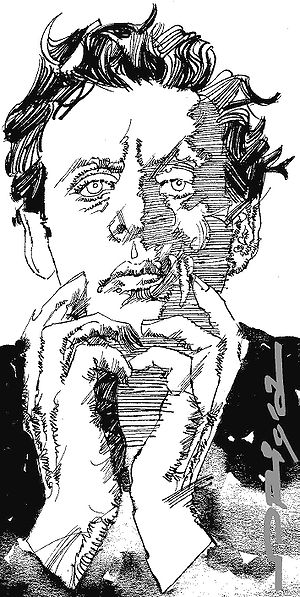 Philip Glass, portrait by italian artist Grazi...