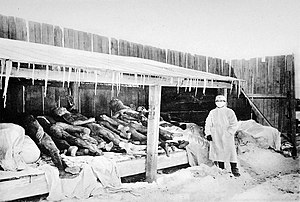Third plague pandemic - Picture of Manchurian plague victims in 1910–1911