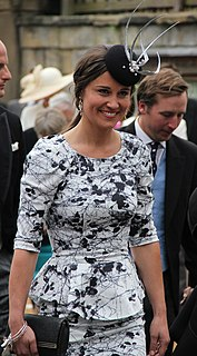 Pippa Middleton English socialite, author, columnist, and the younger sister of Catherine, Duchess of Cambridge