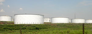 Ethanol storage tanks at the Costa Pinto sugar...