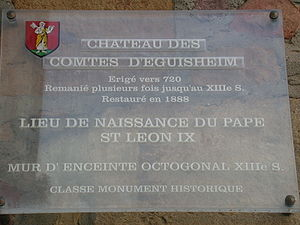 Pope Leo IX - Commemorative shield on the wall of the Castle of Eguisheim, Alsace, birthplace of Pope Leo IX
