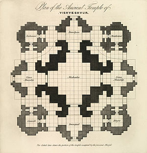 Plan Of The Ancient Temple Of Vishveshvur by James Prinsep 1832.jpg