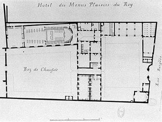 Menus-Plaisirs du Roi - Image: Plan of the Hôtel des Menus Plaisirs (Rue Bergère) Gourret 1985 p 84
