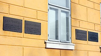 Lyseo Upper Secondary School - Plaques for the three presidents that have attended Oulun Lyseo.