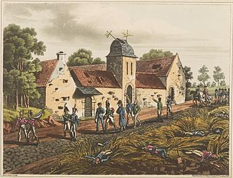 """Mont-Saint-Jean, Belgium - """"The farm house of Mont St. Jean. This house being close to the rear of the action, it was much dilapidated by random shot"""" (1815). Engraver James Rouse"""