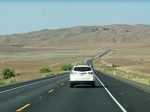 California State Route 46 - Descending into Cholame westbound on CA 46. The Cholame Hills are visible in the distance.