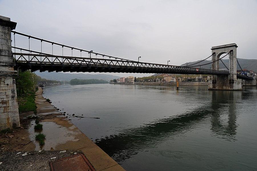 Seguin bridge, joining Tournon-sur-Rhône and Tain-l'Hermitage; Ardèche/Drôme, France.