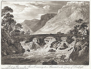 Pont y Pair over the River Conway above Llanrwst in the county of Denbigh