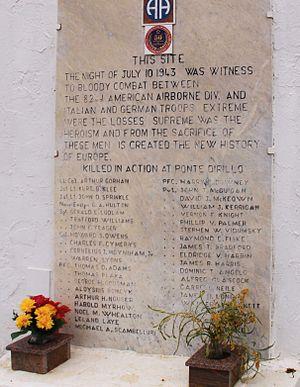 Arthur F. Gorham - Memorial to Lt. Col Gorham and the 82nd Airborne at Ponte Dirillo.