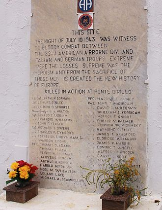 Arthur F. Gorham - Memorial to Lt. Col Gorham and the 82nd Airborne at Ponte Dirillo.