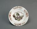 Porslin. Tallrik med tjur och blommor i dekoren - Hallwylska museet - 89154.tif