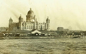 Port of Liverpool Building - A view from the Mersey from before 1914, showing a gap on the left, where the Cunard Building is now located