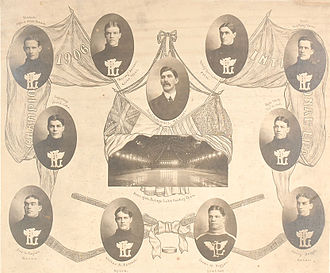 """Portage Lakes Hockey Club - Team picture, 1905-06. Clockwise from top left: Bruce Stuart (captain), Barney Holden, John T. McNamara (manager), Grindy Forrester, W.M. Riley Hern (goaltender), Joe H. Hall, Harry Bright, James W. Duggan (trainer), Walter A. Forrest, Fred W. """"Cyclone"""" Taylor, Fred E. Lake."""
