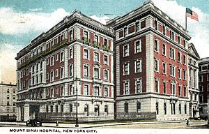 Mount Sinai Hospital (Manhattan) - The hospital, from a postcard sent in 1920