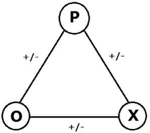 Signed graph - There are eight ways that signs can be assigned to the sides of a triangle. An odd number of negative signs makes an unbalanced triangle, according to Fritz Heider's theory.