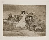 A cart is being loaded with the dead. A man hoists the body of a woman into the arms of a third man standing in the cart, while two other men carry more bodies to the cart to be loaded.