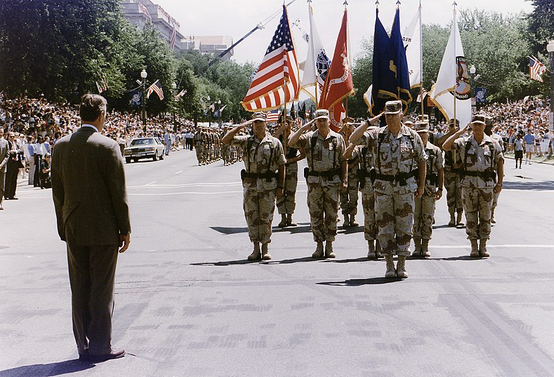 File:President Bush greets General H. Norman Schwarzkopf who leads the Desert Storm Homecoming Parade in Washington, D.C - NARA - 186434.jpg