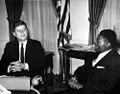 President John F. Kennedy with Ambassador of Gabon, Joseph Ngoua (JFKWHP-AR6444-A).jpg