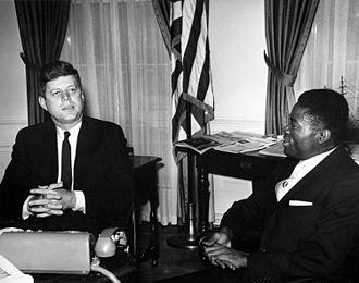 Gabon–United States relations - President John F. Kennedy with Ambassador of Gabon, Joseph Ngoua, 1961