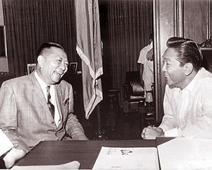 Fernando Lopez - Vice President Fernando Lopez with President Ferdinand Marcos at the Presidential study.