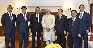 Hiroyuki Hosoda - Hosoda, along with the Members of the Japan-India Parliamentarians Friendship League, meeting Indian Prime Minister Narendra Modi in New Delhi.