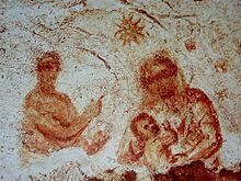 La Natività raffigurata nelle Catacombe di Priscilla, a Roma.