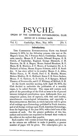 Psyche (entomology journal) - Cover page of Volume 1, number 1.