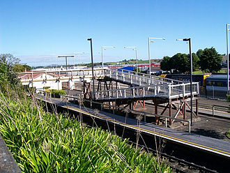 Pukekohe railway station - Looking south from Station Road.