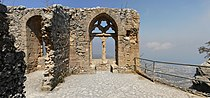 Panoramic view of the Queen's window (Queen Elanor) in the upper ward of Saint Hilarion Kalesi (Castle), Northern Cyprus.