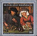 Quentin Metsys, The Moneylender and his Wife, 1514 on 1969 stamp of Rwanda.jpg